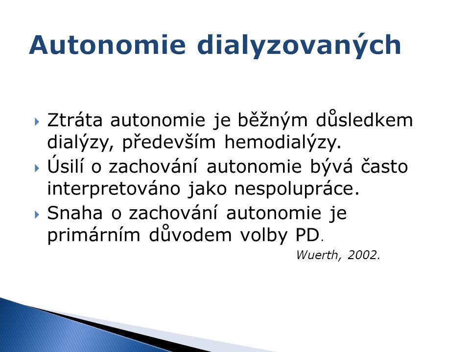  Ztráta autonomie je běžným důsledkem dialýzy, především hemodialýzy.  Úsilí o zachování autonomie bývá často interpretováno jako nespolupráce.  Sn