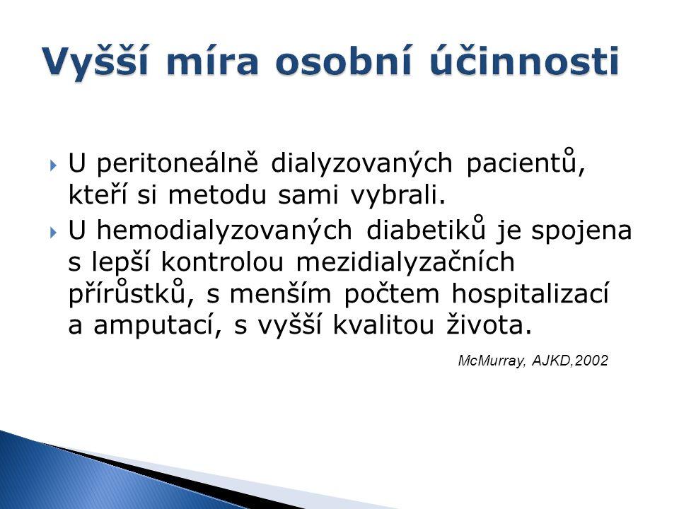  U peritoneálně dialyzovaných pacientů, kteří si metodu sami vybrali.  U hemodialyzovaných diabetiků je spojena s lepší kontrolou mezidialyzačních p