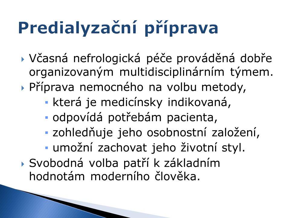  Včasná nefrologická péče prováděná dobře organizovaným multidisciplinárním týmem.  Příprava nemocného na volbu metody, ▪ která je medicínsky indiko