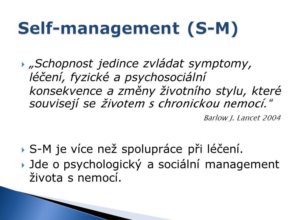 """ """"Schopnost jedince zvládat symptomy, léčení, fyzické a psychosociální konsekvence a změny životního stylu, které souvisejí se životem s chronickou n"""