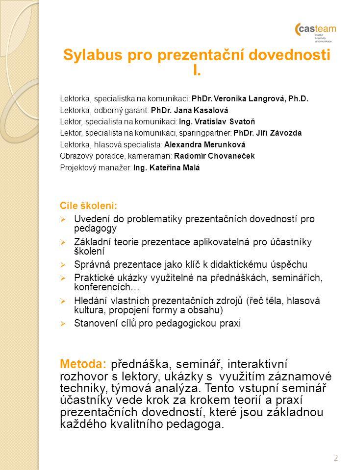 Sylabus pro prezentační dovednosti I.Lektorka, specialistka na komunikaci: PhDr.