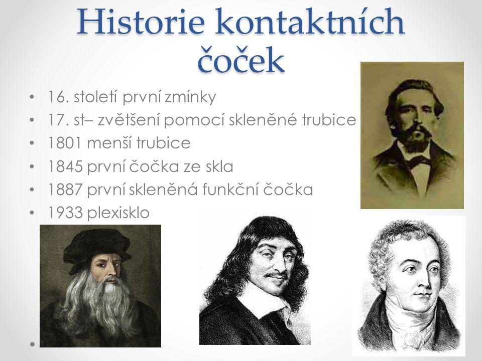 Historie kontaktních čoček 16.století první zmínky 17.