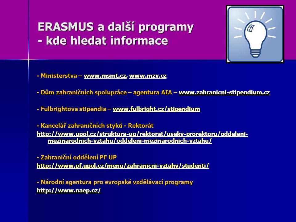 ERASMUS a další programy - kde hledat informace - Ministerstva – www.msmt.cz, www.mzv.cz www.msmt.czwww.mzv.czwww.msmt.czwww.mzv.cz - Dům zahraničních spolupráce – agentura AIA – www.zahranicni-stipendium.cz www.zahranicni-stipendium.cz - Fulbrightova stipendia – www.fulbright.cz/stipendium - Kancelář zahraničních styků - Rektorát http://www.upol.cz/struktura-up/rektorat/useky-prorektoru/oddeleni- mezinarodnich-vztahu/oddeleni-mezinarodnich-vztahu/ http://www.upol.cz/struktura-up/rektorat/useky-prorektoru/oddeleni- mezinarodnich-vztahu/oddeleni-mezinarodnich-vztahu/ - Zahraniční oddělení PF UP http://www.pf.upol.cz/menu/zahranicni-vztahy/studenti/ - Národní agentura pro evropské vzdělávací programy http://www.naep.cz/