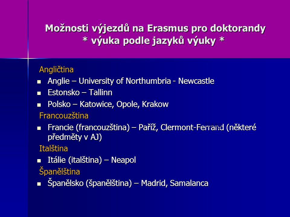Možnosti výjezdů na Erasmus pro doktorandy * výuka podle jazyků výuky * Možnosti výjezdů na Erasmus pro doktorandy * výuka podle jazyků výuky * Angličtina Angličtina Anglie – University of Northumbria - Newcastle Anglie – University of Northumbria - Newcastle Estonsko – Tallinn Estonsko – Tallinn Polsko – Katowice, Opole, Krakow Polsko – Katowice, Opole, Krakow Francouzština Francouzština Francie (francouzština) – Paříž, Clermont-Ferrand (některé předměty v AJ) Francie (francouzština) – Paříž, Clermont-Ferrand (některé předměty v AJ) Italština Italština Itálie (italština) – Neapol Itálie (italština) – Neapol Španělština Španělština Španělsko (španělština) – Madrid, Samalanca Španělsko (španělština) – Madrid, Samalanca Haag