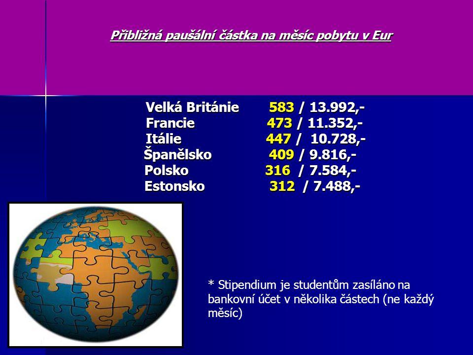 Přibližná paušální částka na měsíc pobytu v Eur Velká Británie 583 / 13.992,- Velká Británie 583 / 13.992,- Francie 473 / 11.352,- Francie 473 / 11.352,- Itálie 447 / 10.728,- Itálie 447 / 10.728,- Španělsko 409 / 9.816,- Polsko 316 / 7.584,- Estonsko 312 / 7.488,- Estonsko 312 / 7.488,- * Stipendium je studentům zasíláno na bankovní účet v několika částech (ne každý měsíc)