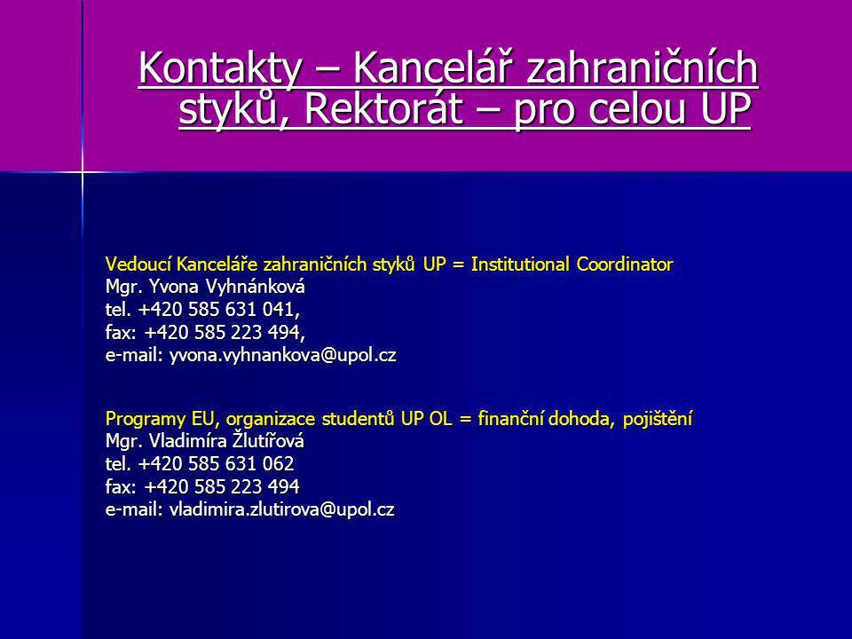 Kontakty – Kancelář zahraničních styků, Rektorát – pro celou UP Vedoucí Kanceláře zahraničních styků UP = Institutional Coordinator Mgr. Yvona Vyhnánk