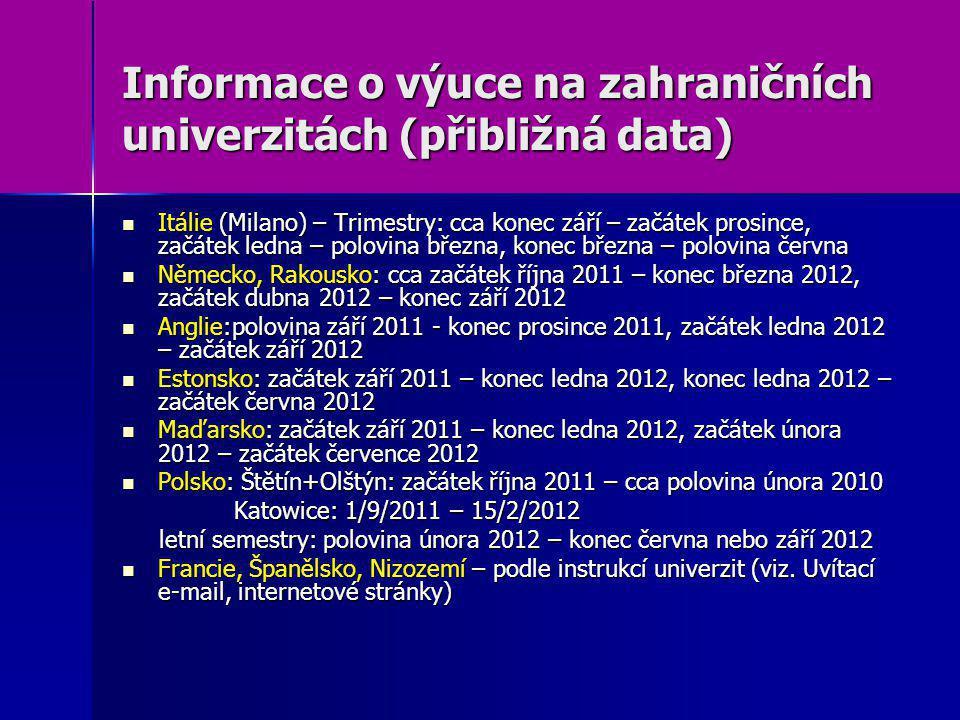 Informace o výuce na zahraničních univerzitách (přibližná data) Itálie (Milano) – Trimestry: cca konec září – začátek prosince, začátek ledna – polovi