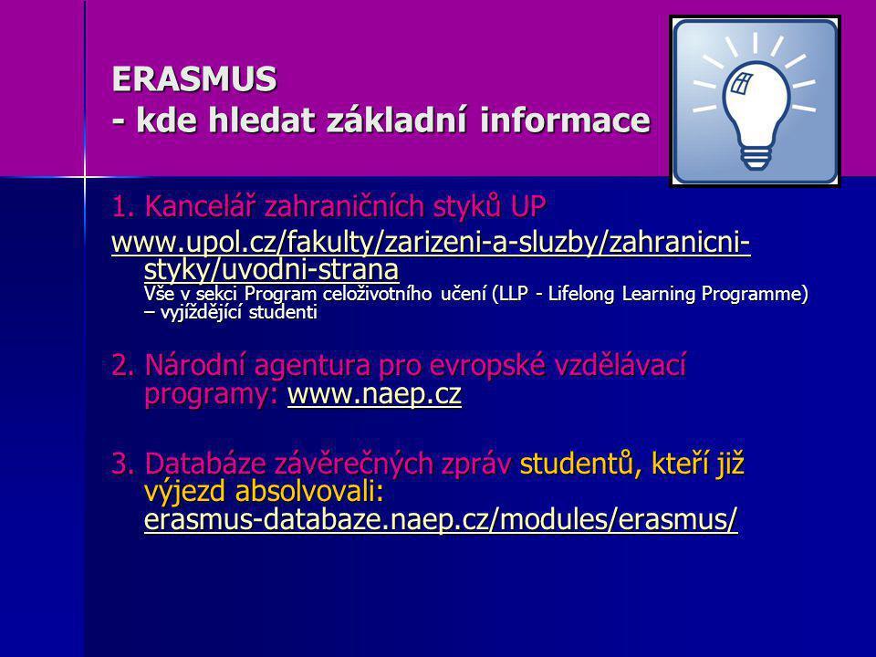 ERASMUS - kde hledat základní informace 1. Kancelář zahraničních styků UP www.upol.cz/fakulty/zarizeni-a-sluzby/zahranicni- styky/uvodni-strana www.up