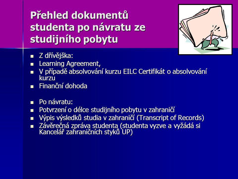 Přehled dokumentů studenta po návratu ze studijního pobytu Z dřívějška: Z dřívějška: Learning Agreement, Learning Agreement, V případě absolvování kur
