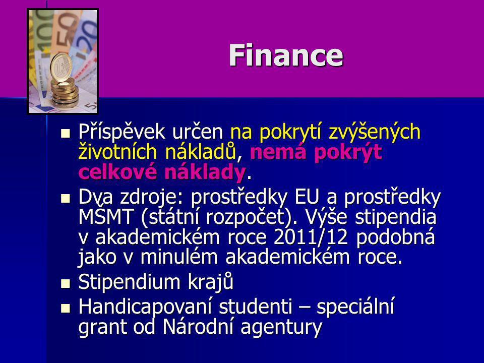 Finance Příspěvek určen na pokrytí zvýšených životních nákladů, nemá pokrýt celkové náklady.