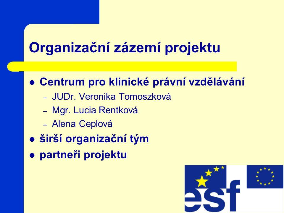 Organizační zázemí projektu Centrum pro klinické právní vzdělávání – JUDr.