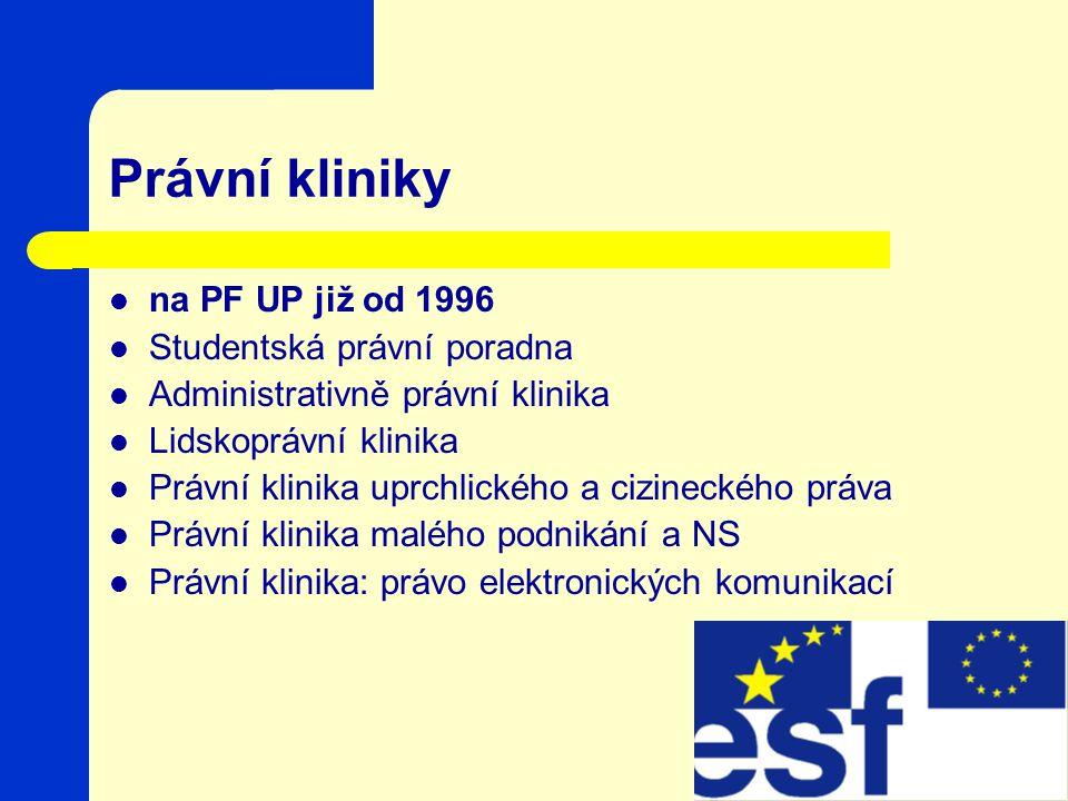 Právní kliniky na PF UP již od 1996 Studentská právní poradna Administrativně právní klinika Lidskoprávní klinika Právní klinika uprchlického a cizineckého práva Právní klinika malého podnikání a NS Právní klinika: právo elektronických komunikací