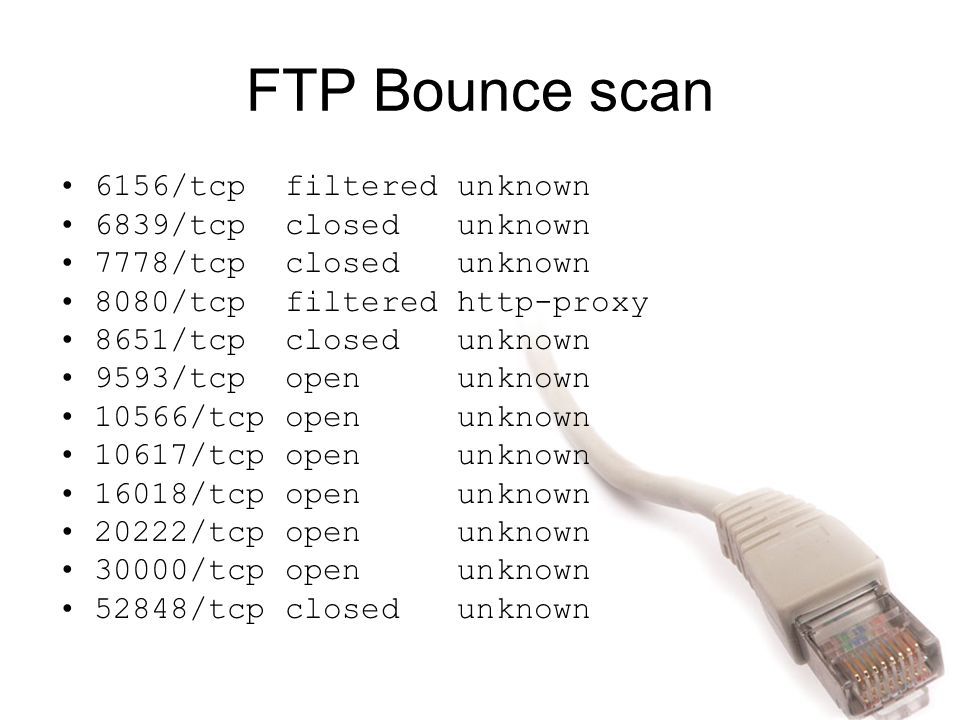 FTP Bounce scan 6156/tcp filtered unknown 6839/tcp closed unknown 7778/tcp closed unknown 8080/tcp filtered http-proxy 8651/tcp closed unknown 9593/tc