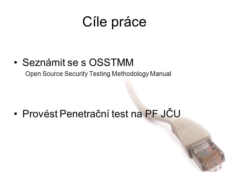 Cíle práce Seznámit se s OSSTMM Open Source Security Testing Methodology Manual Provést Penetrační test na PF JČU