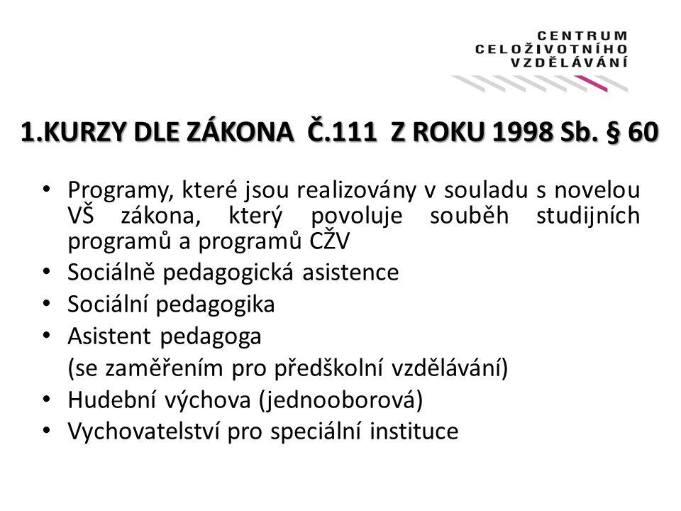 1.KURZY DLE ZÁKONA Č.111 Z ROKU 1998 Sb.