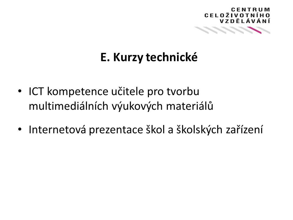 E. Kurzy technické ICT kompetence učitele pro tvorbu multimediálních výukových materiálů Internetová prezentace škol a školských zařízení