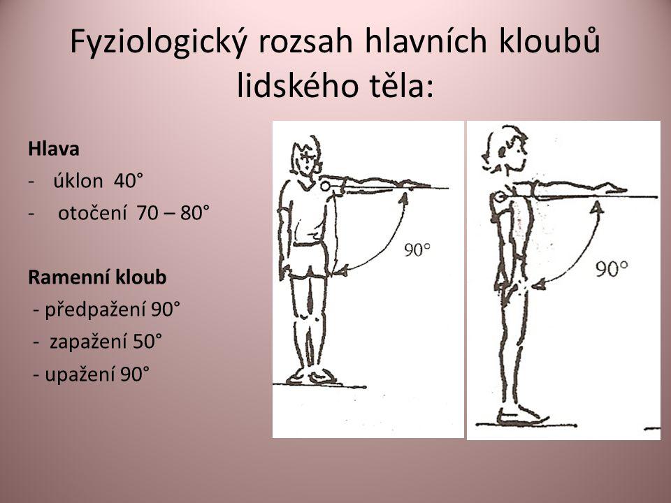 Fyziologický rozsah hlavních kloubů lidského těla: Hlava -úklon 40° - otočení 70 – 80° Ramenní kloub - předpažení 90° - zapažení 50° - upažení 90°