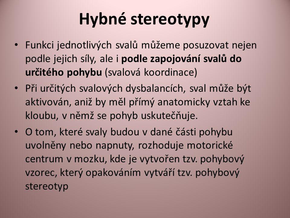 Hybné stereotypy Funkci jednotlivých svalů můžeme posuzovat nejen podle jejich síly, ale i podle zapojování svalů do určitého pohybu (svalová koordina