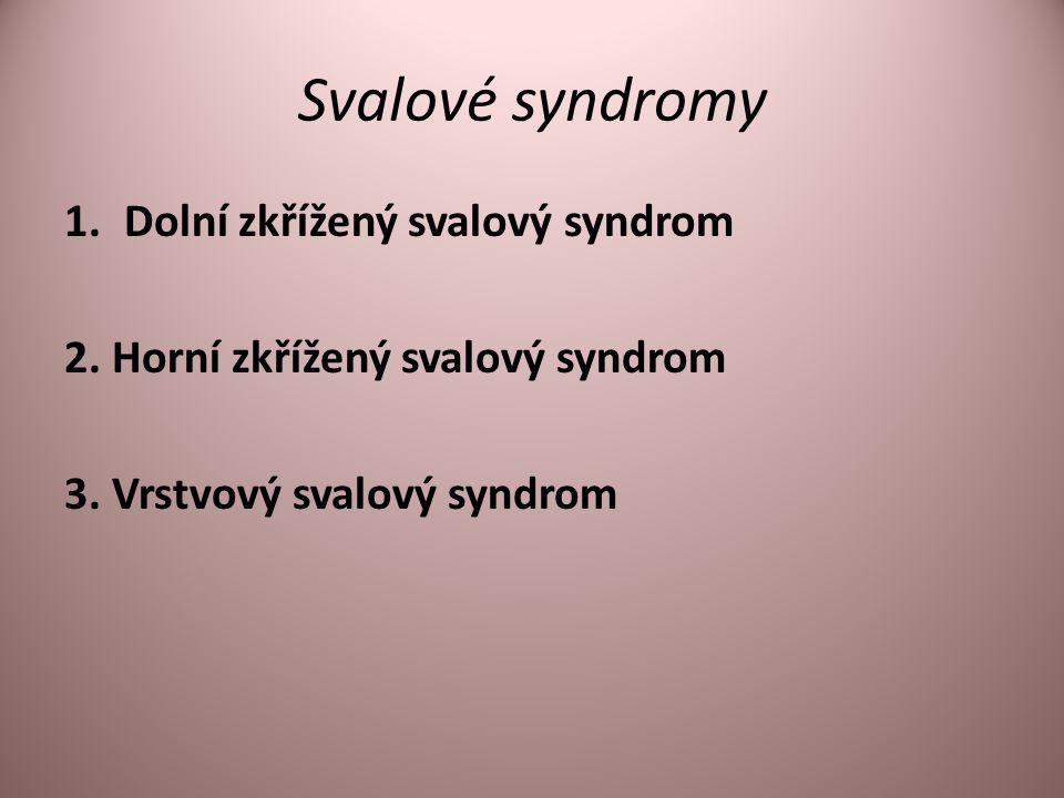Svalové syndromy 1.Dolní zkřížený svalový syndrom 2. Horní zkřížený svalový syndrom 3. Vrstvový svalový syndrom