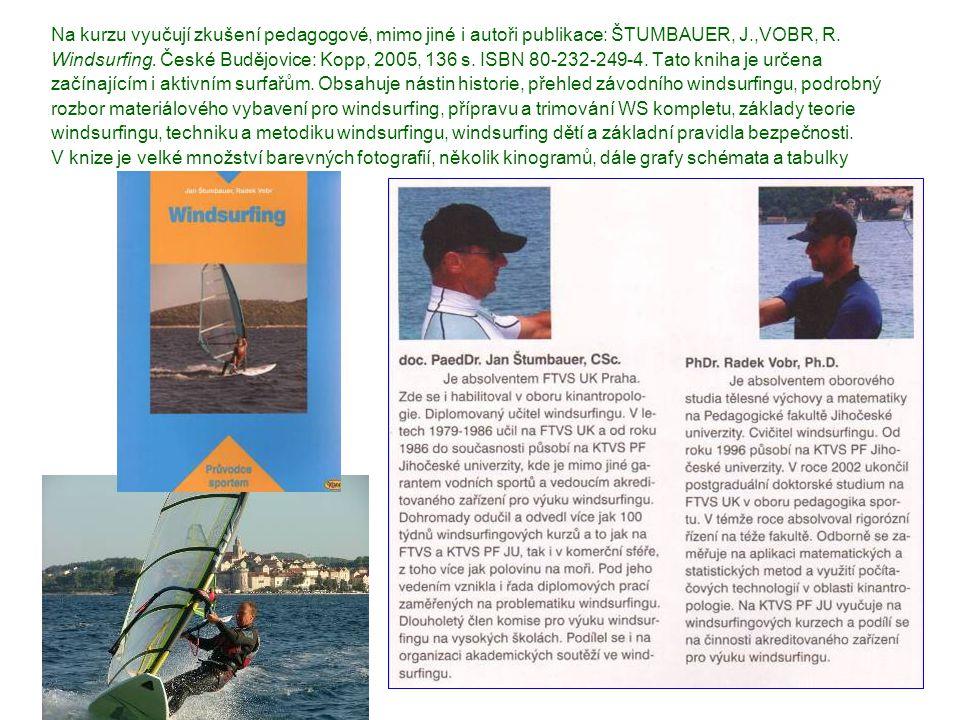 Na kurzu vyučují zkušení pedagogové, mimo jiné i autoři publikace: ŠTUMBAUER, J.,VOBR, R. Windsurfing. České Budějovice: Kopp, 2005, 136 s. ISBN 80-23