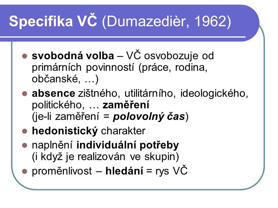 Specifika VČ (Dumazedièr, 1962) svobodná volba – VČ osvobozuje od primárních povinností (práce, rodina, občanské, …) absence zištného, utilitárního, i