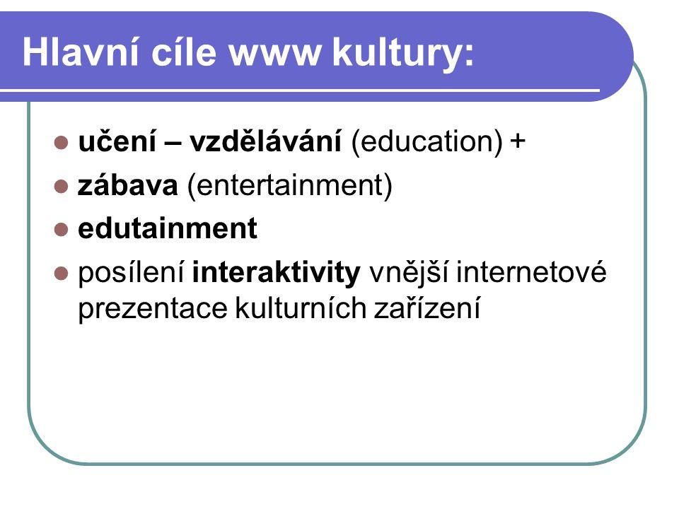 Hlavní cíle www kultury: učení – vzdělávání (education) + zábava (entertainment) edutainment posílení interaktivity vnější internetové prezentace kulturních zařízení