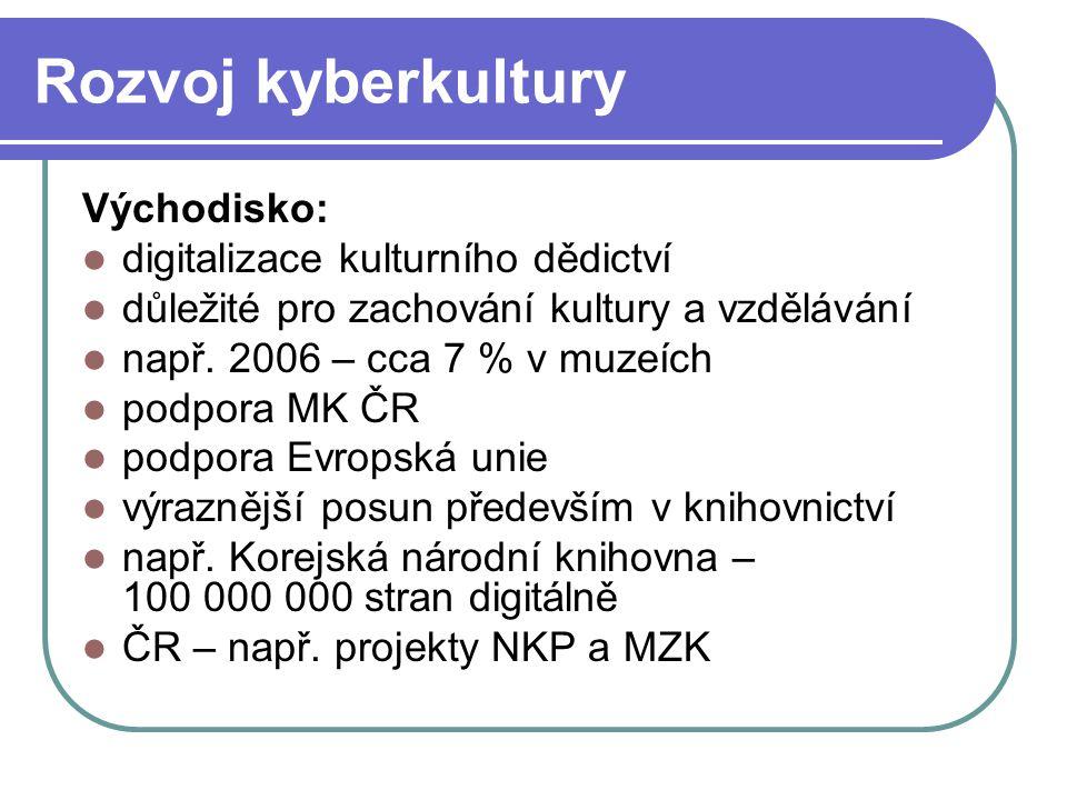 Rozvoj kyberkultury Východisko: digitalizace kulturního dědictví důležité pro zachování kultury a vzdělávání např.