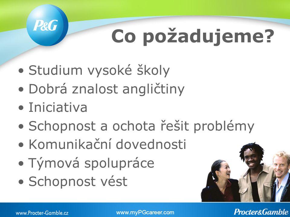 Co požadujeme? Studium vysoké školy Dobrá znalost angličtiny Iniciativa Schopnost a ochota řešit problémy Komunikační dovednosti Týmová spolupráce Sch