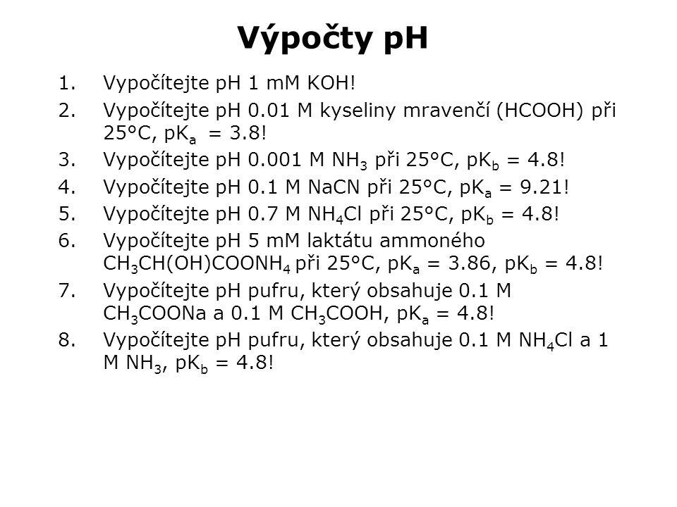 Výpočty pH 1.Vypočítejte pH 1 mM KOH.