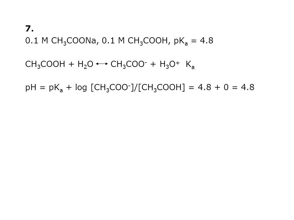 7. 0.1 M CH 3 COONa, 0.1 M CH 3 COOH, pK a = 4.8 CH 3 COOH + H 2 O CH 3 COO - + H 3 O + K a pH = pK a + log [CH 3 COO - ]/[CH 3 COOH] = 4.8 + 0 = 4.8