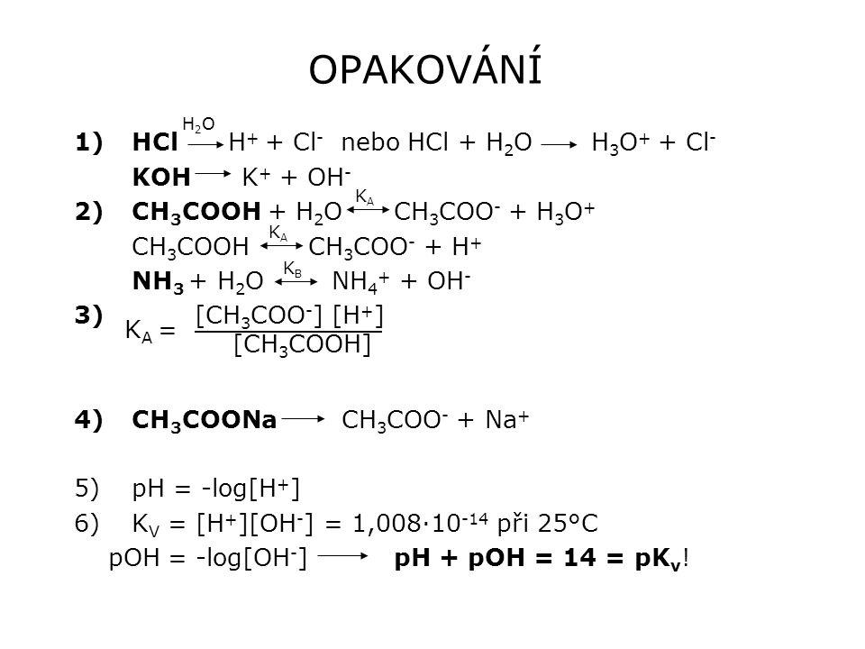 OPAKOVÁNÍ 1)HCl H + + Cl - nebo HCl + H 2 O H 3 O + + Cl - KOH K + + OH - 2)CH 3 COOH + H 2 O CH 3 COO - + H 3 O + CH 3 COOH CH 3 COO - + H + NH 3 + H 2 O NH 4 + + OH - 3) [CH 3 COO - ] [H + ] 4)CH 3 COONa CH 3 COO - + Na + 5)pH = -log[H + ] 6)K V = [H + ][OH - ] = 1,008·10 -14 při 25°C pOH = -log[OH - ] pH + pOH = 14 = pK v .
