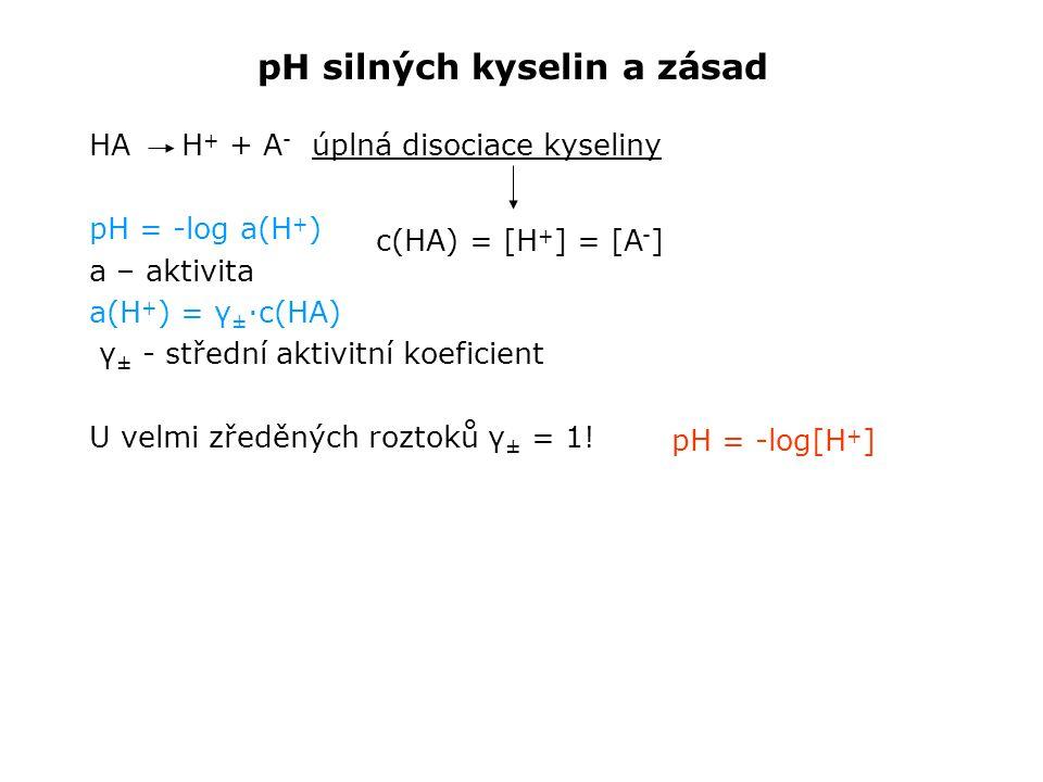 pH silných kyselin a zásad HA H + + A - úplná disociace kyseliny pH = -log a(H + ) a – aktivita a(H + ) = γ ± ·c(HA) γ ± - střední aktivitní koeficient U velmi zředěných roztoků γ ± = 1.
