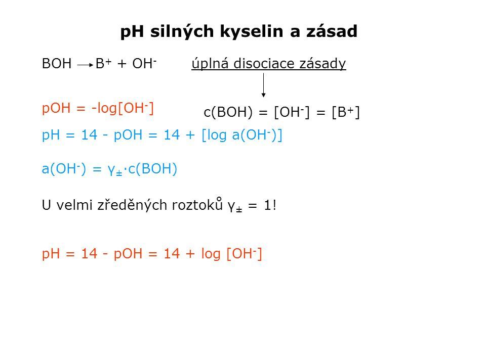 pH silných kyselin a zásad BOH B + + OH - pH = 14 - pOH = 14 + [log a(OH - )] úplná disociace zásady c(BOH) = [OH - ] = [B + ] a(OH - ) = γ ± ·c(BOH) U velmi zředěných roztoků γ ± = 1.