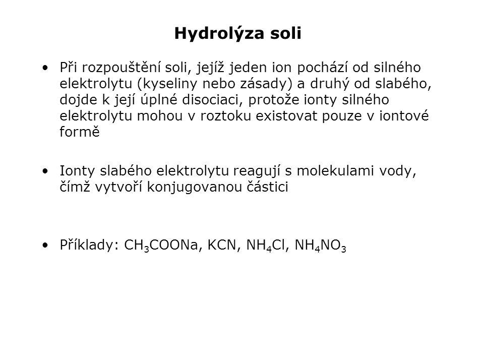 Hydrolýza soli Při rozpouštění soli, jejíž jeden ion pochází od silného elektrolytu (kyseliny nebo zásady) a druhý od slabého, dojde k její úplné disociaci, protože ionty silného elektrolytu mohou v roztoku existovat pouze v iontové formě Ionty slabého elektrolytu reagují s molekulami vody, čímž vytvoří konjugovanou částici Příklady: CH 3 COONa, KCN, NH 4 Cl, NH 4 NO 3