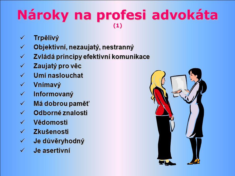 Nároky na profesi advokáta (1) Trpělivý Trpělivý Objektivní, nezaujatý, nestranný Objektivní, nezaujatý, nestranný Zvládá principy efektivní komunikac