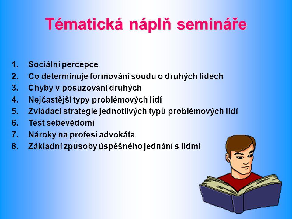 Tématická náplň semináře 1.Sociální percepce 2.Co determinuje formování soudu o druhých lidech 3.Chyby v posuzování druhých 4.Nejčastější typy problém
