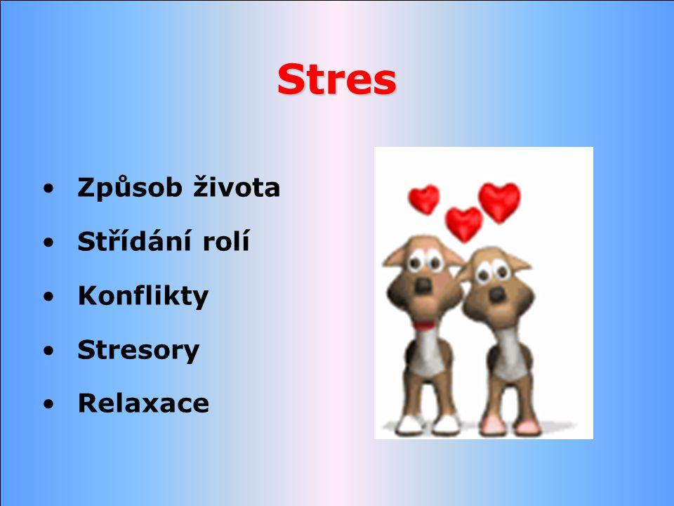 Stres Způsob života Střídání rolí Konflikty Stresory Relaxace