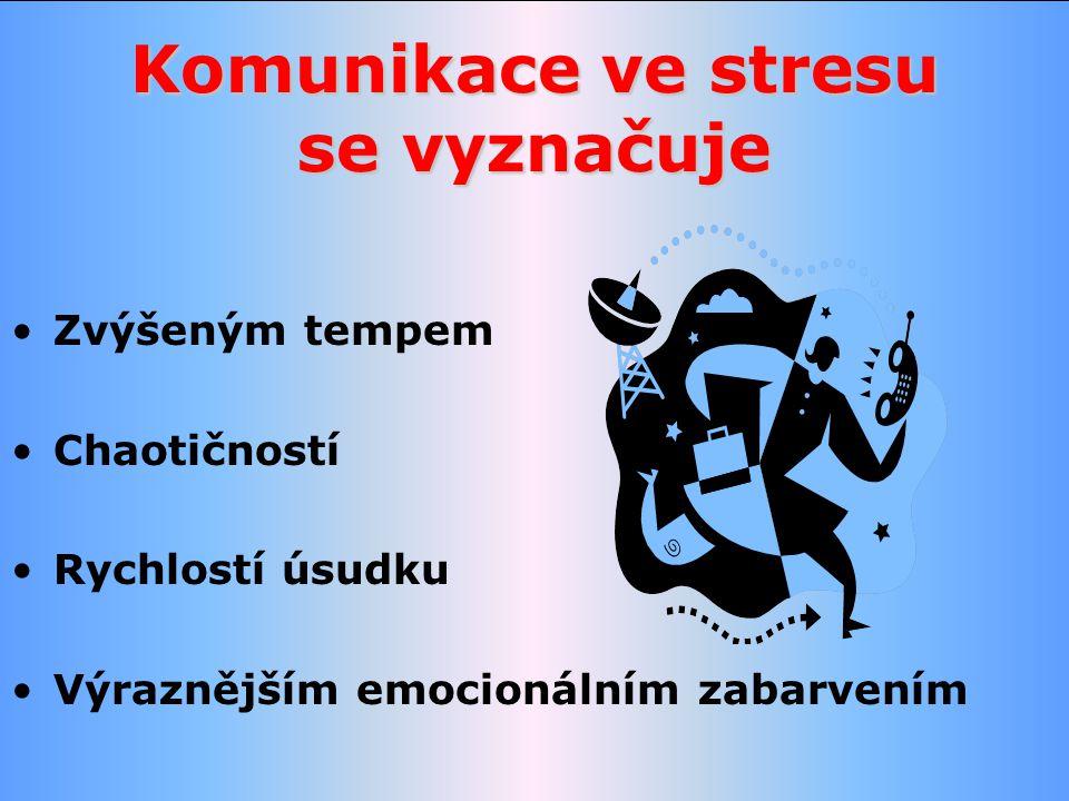 Komunikace ve stresu se vyznačuje Zvýšeným tempem Chaotičností Rychlostí úsudku Výraznějším emocionálním zabarvením