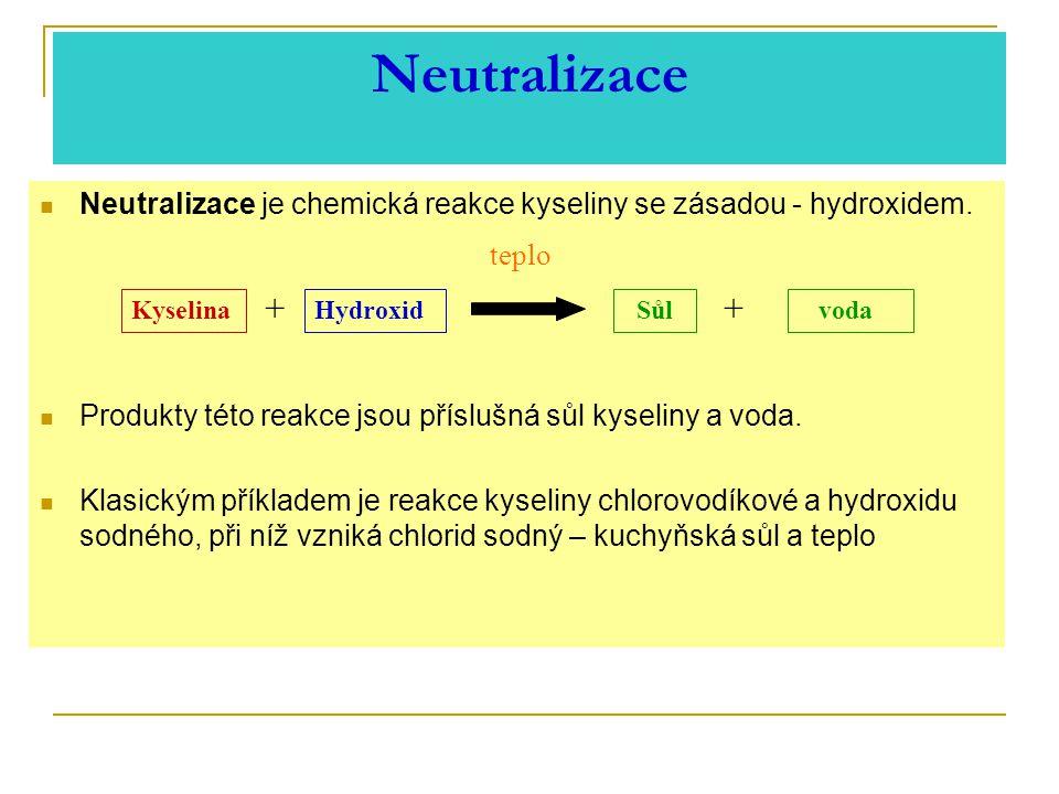 Neutralizace Neutralizace je chemická reakce kyseliny se zásadou - hydroxidem.
