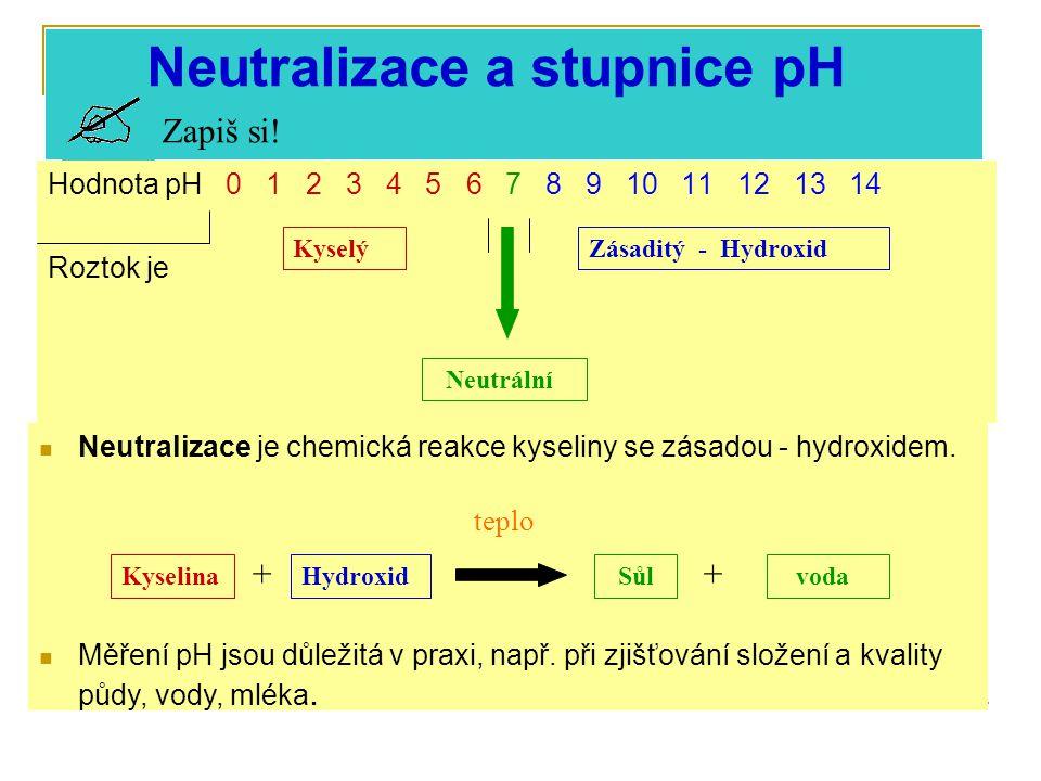 Hodnota pH 0 1 2 3 4 5 6 7 8 9 10 11 12 13 14 Roztok je KyselýZásaditý - Hydroxid Neutrální Neutralizace a stupnice pH Zapiš si.
