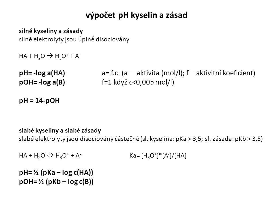 výpočet pH kyselin a zásad silné kyseliny a zásady silné elektrolyty jsou úplně disociovány HA + H 2 O  H 3 O + + A - pH= -log a(HA)a= f.c (a – aktiv