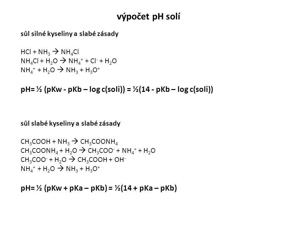 výpočet pH solí sůl slabé kyseliny a slabé zásady CH 3 COOH + NH 3  CH 3 COONH 4 CH 3 COONH 4 + H 2 O  CH 3 COO - + NH 4 + + H 2 O CH 3 COO - + H 2