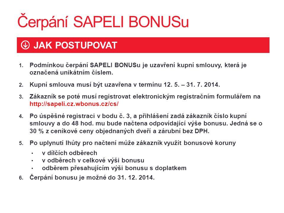 1. Podmínkou čerpání SAPELI BONUSu je uzavření kupní smlouvy, která je označená unikátním číslem. 2. Kupní smlouva musí být uzavřena v termínu 12. 5.