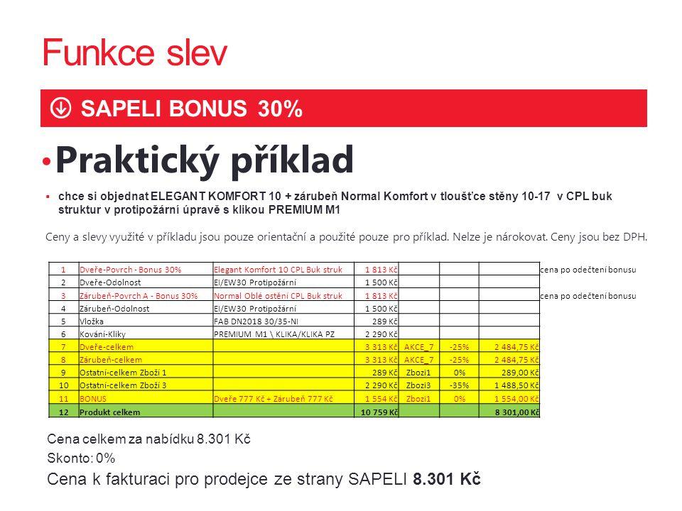 Funkce slev SAPELI BONUS 30% Praktický příklad  chce si objednat ELEGANT KOMFORT 10 + zárubeň Normal Komfort v tloušťce stěny 10-17 v CPL buk struktu