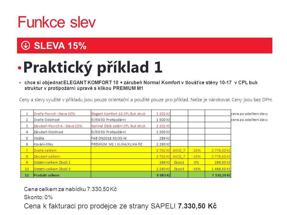 Funkce slev SLEVA 15% Praktický příklad 1 Cena celkem za nabídku 7.330,50 Kč Skonto: 0% Cena k fakturaci pro prodejce ze strany SAPELI 7.330,50 Kč  c