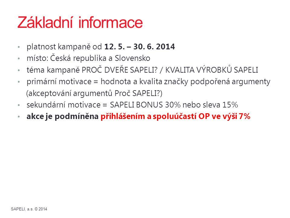 Základní informace platnost kampaně od 12. 5. – 30. 6. 2014 místo: Česká republika a Slovensko téma kampaně PROČ DVEŘE SAPELI? / KVALITA VÝROBKŮ SAPEL