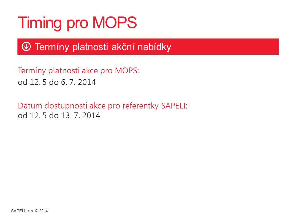 Termíny platnosti akce pro MOPS: od 12. 5 do 6. 7. 2014 Datum dostupnosti akce pro referentky SAPELI: od 12. 5 do 13. 7. 2014 Timing pro MOPS Termíny
