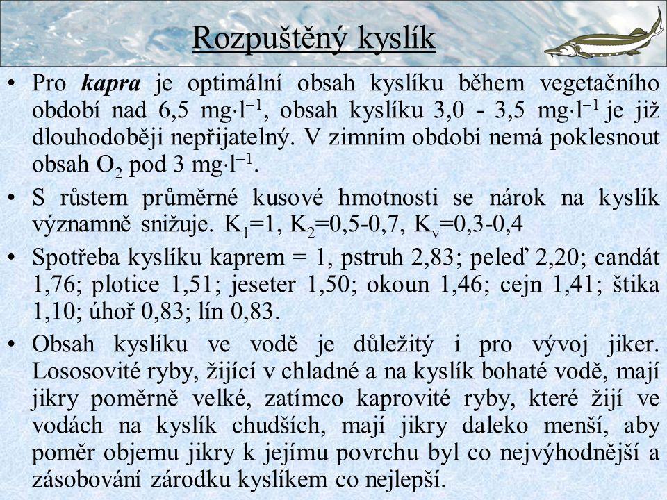 Pro kapra je optimální obsah kyslíku během vegetačního období nad 6,5 mg  l  1, obsah kyslíku 3,0 - 3,5 mg  l  1 je již dlouhodoběji nepřijatelný.