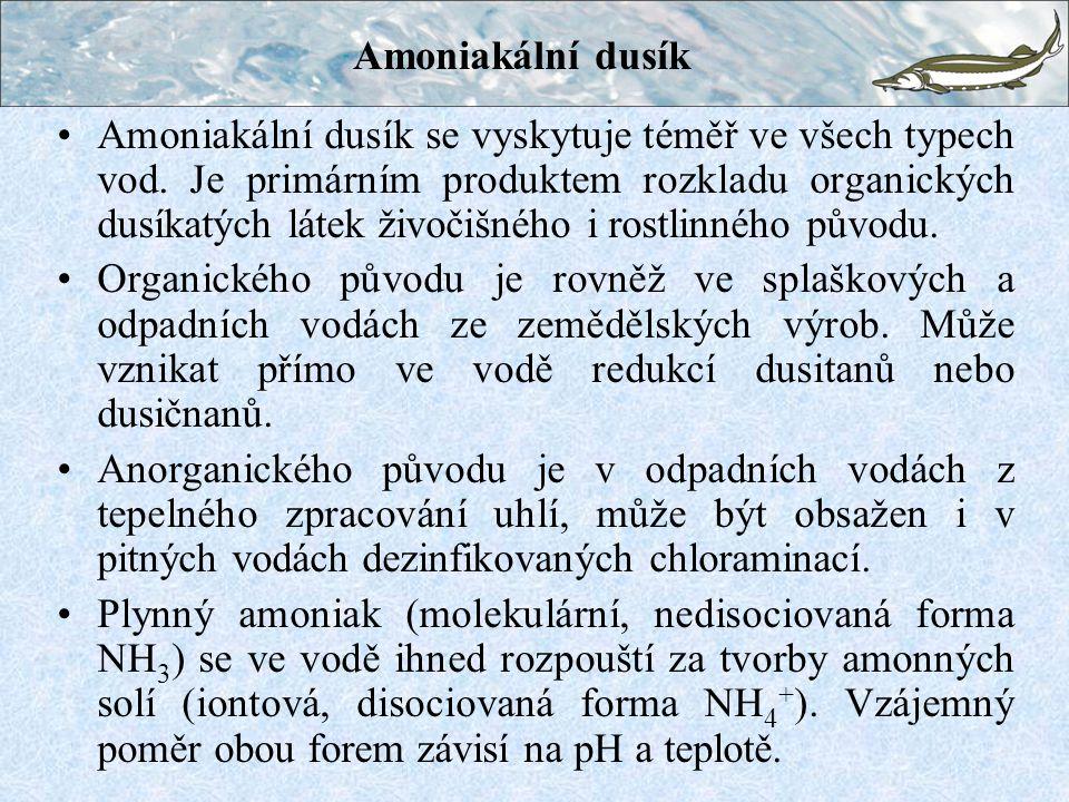 Amoniakální dusík Amoniakální dusík se vyskytuje téměř ve všech typech vod. Je primárním produktem rozkladu organických dusíkatých látek živočišného i