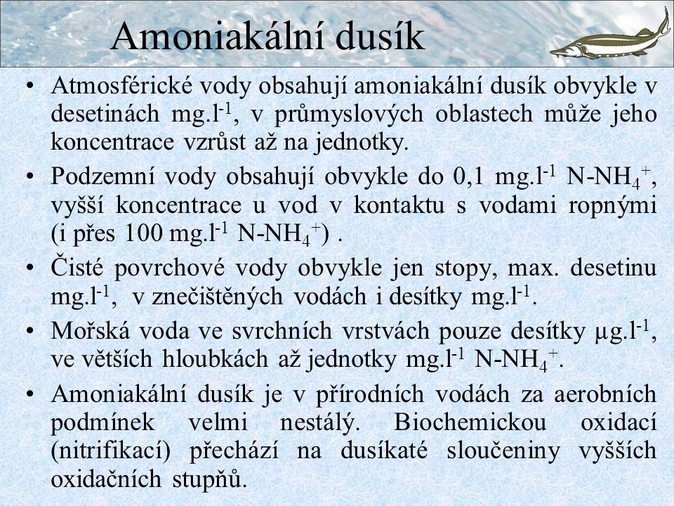 Amoniakální dusík Atmosférické vody obsahují amoniakální dusík obvykle v desetinách mg.l -1, v průmyslových oblastech může jeho koncentrace vzrůst až na jednotky.